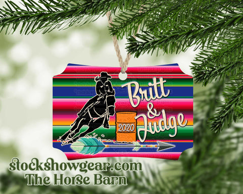 Barrel Racer Serape Ornament Personalized
