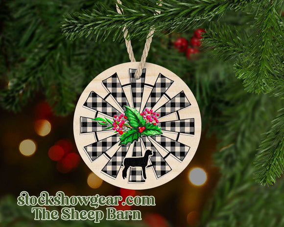 Club Lamb Round Christmas Ornament