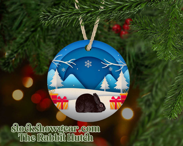 Chocolate Mini Rex Snow Scene Ornament