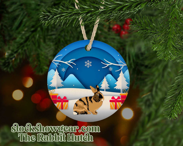 Harlequin Rabbit Snow Scene Ornament