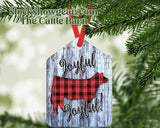 Christmas Cow Tag Shaped Ornament