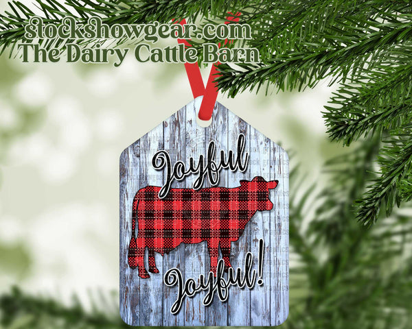 Christmas Dairy Cow Tag Shaped Ornaments