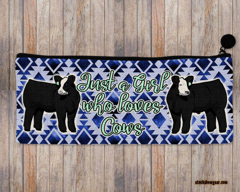 Just a Girl Who Loves Cows-Black Baldy Pencil-Cosmetic Bags