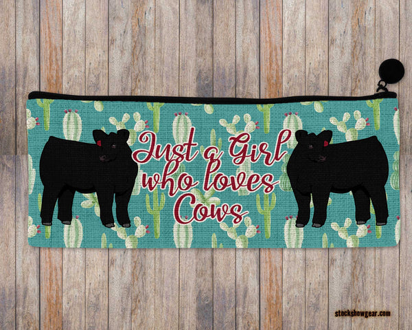 Just a Girl Who Loves Cows-Angus Pencil-Cosmetic Bags