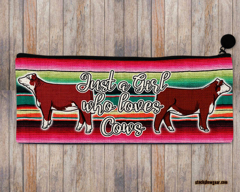Just a Girl Who Loves Cows-Hereford Pencil-Cosmetic Bags