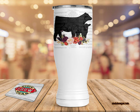 Angus Cow Calf Pilsner Tumbler-Floral Swag