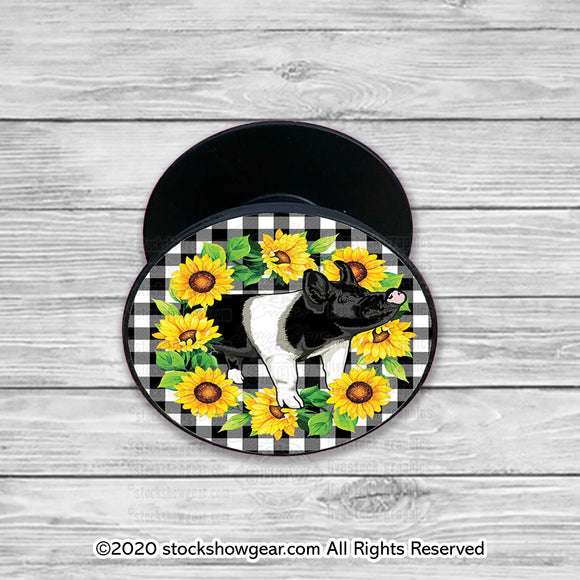 Hampshire Pop Your Livestock Phone Holder-Gingham-Sunflower