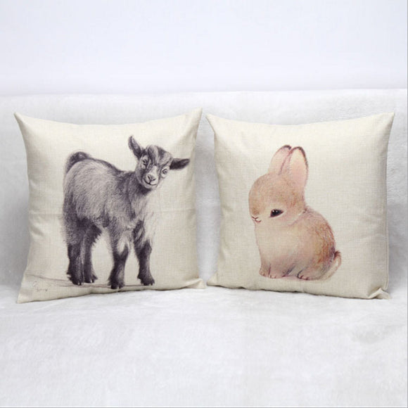 Pygmy Goat Dwarf Rabbit Cotton Pillow Cover