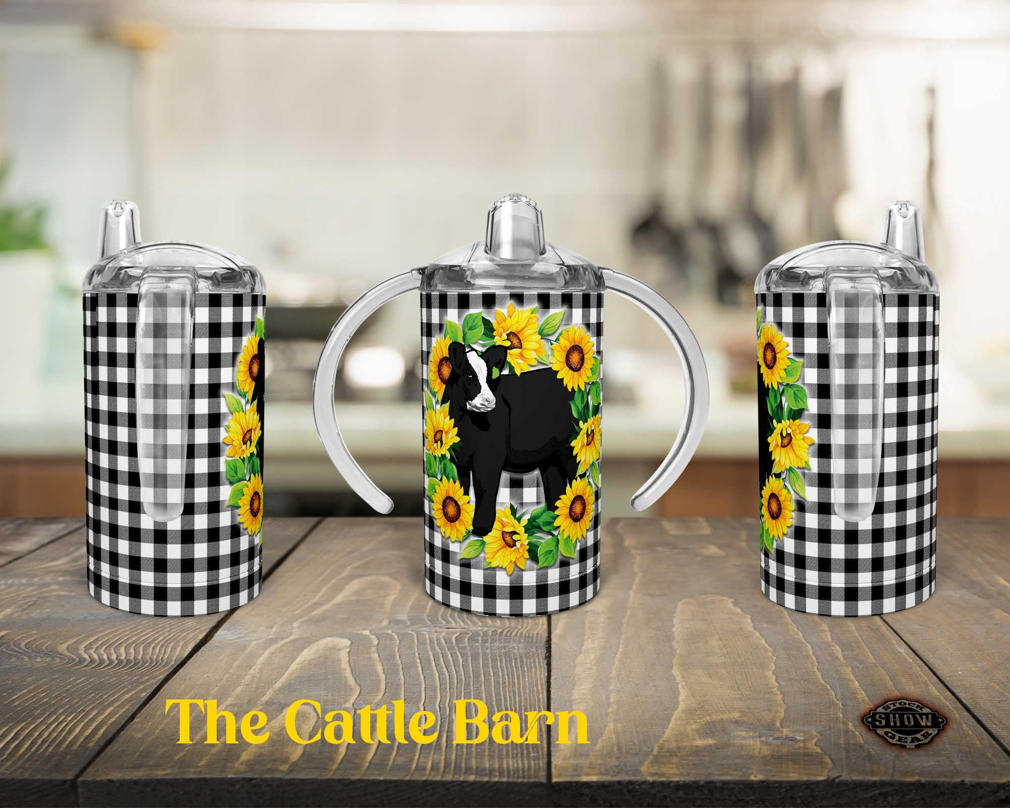 Black Baldy 12oz. Straight Sippy Training Cup-Sunflowers and Gingham