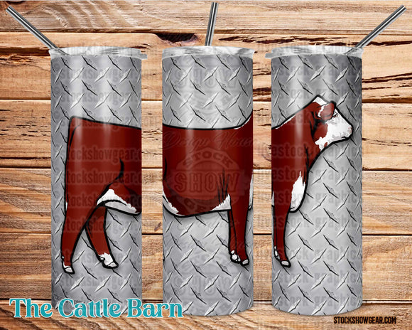 Hereford Heifer Tumbler-Silver Diamond Plate