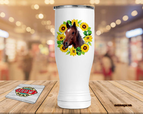 Horse Pilsner Tumbler-Sunflower Wreath