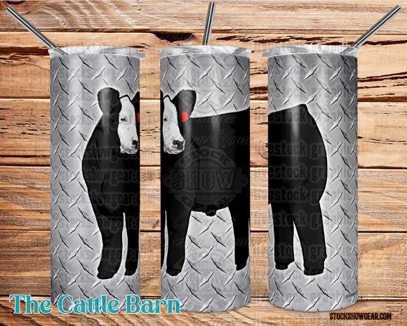 Black Baldy Steer Diamond Plate Tumbler