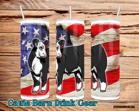 Black Hereford Tumbler USA Themed