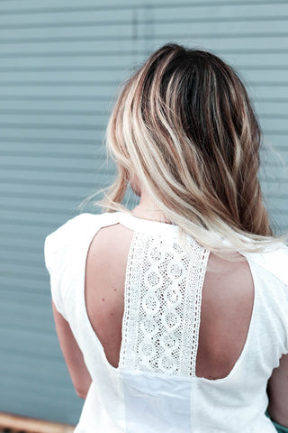 The Fashionably Broke in White T-Shirt Back View