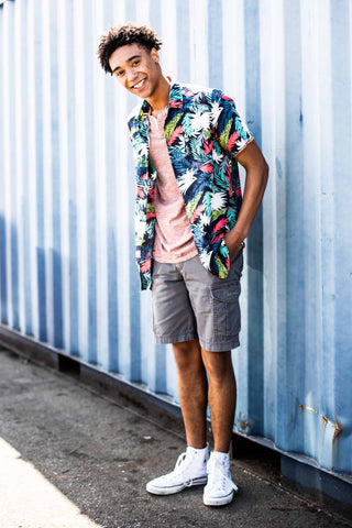 Men's summer outfits - Floral Button Up and Cargo Shorts