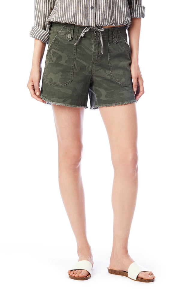 Careen Raw Hem Camo Short