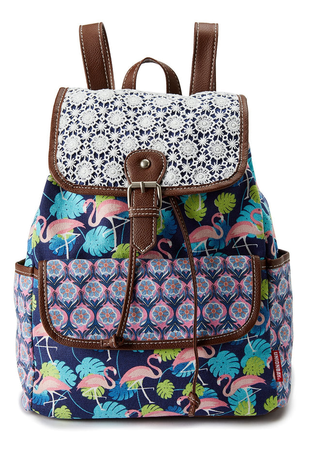 Flamingo Print Backpack