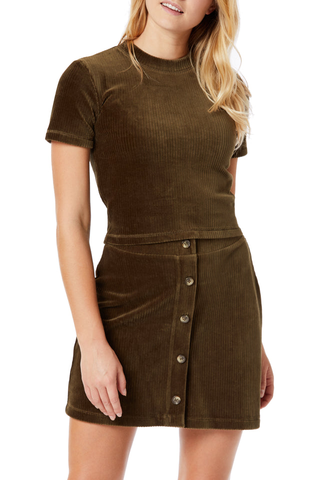 Olive Corduroy Crew Neck Tops for Women - Front View