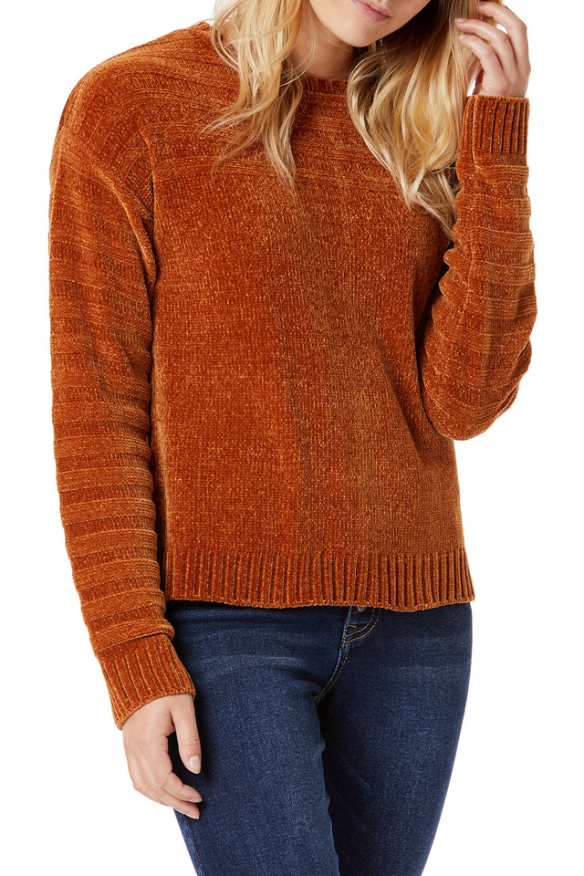 Brown Soft Chenille Sweaters for Women - Front View
