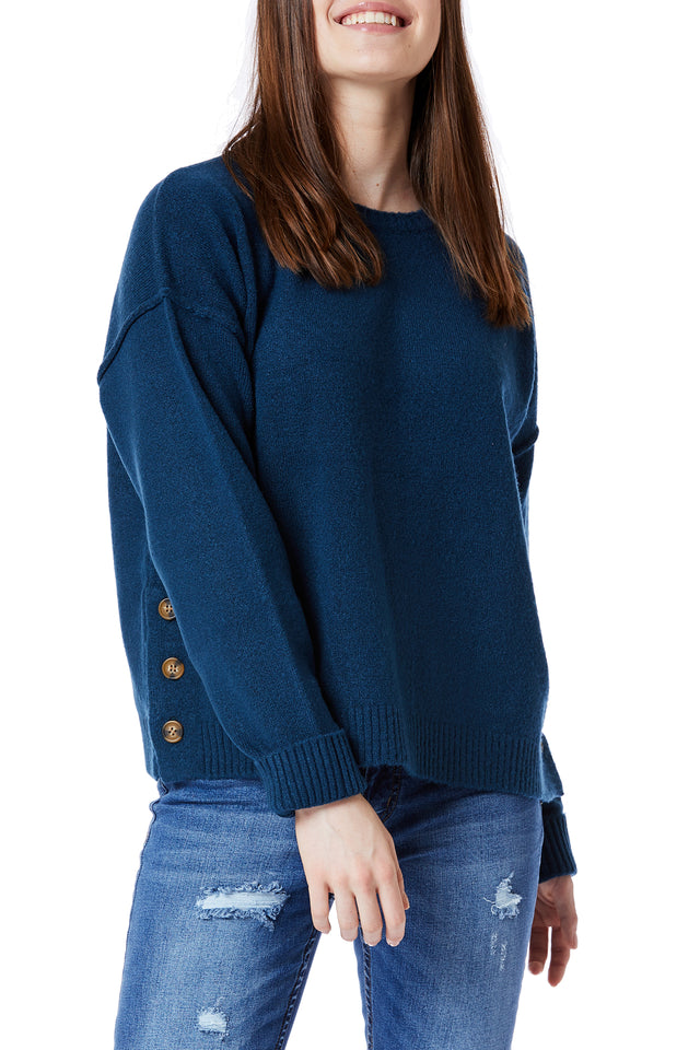 Blue Angie Yarn Side Button Sweaters for Women - Front View