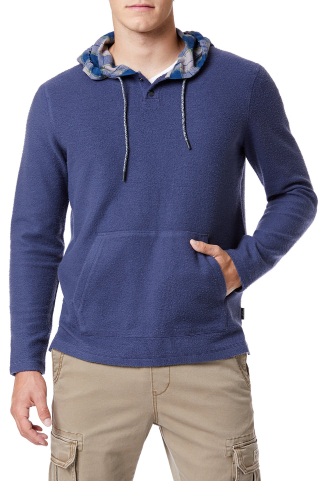 Blue Plaid Hooded Henley for Men - Front View
