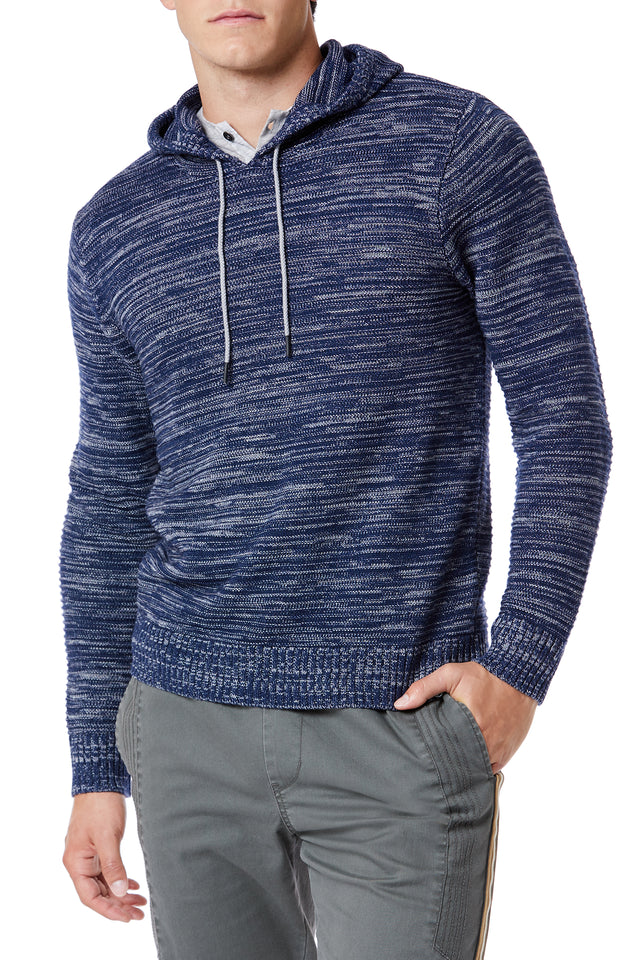 Blue Drawcord Sweater Hoodies for Men - Front View