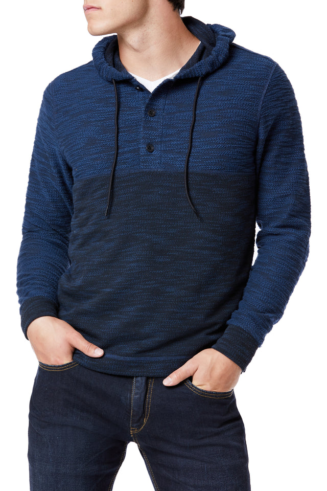 Blue Color Block Hooded Henley for Men - Front View