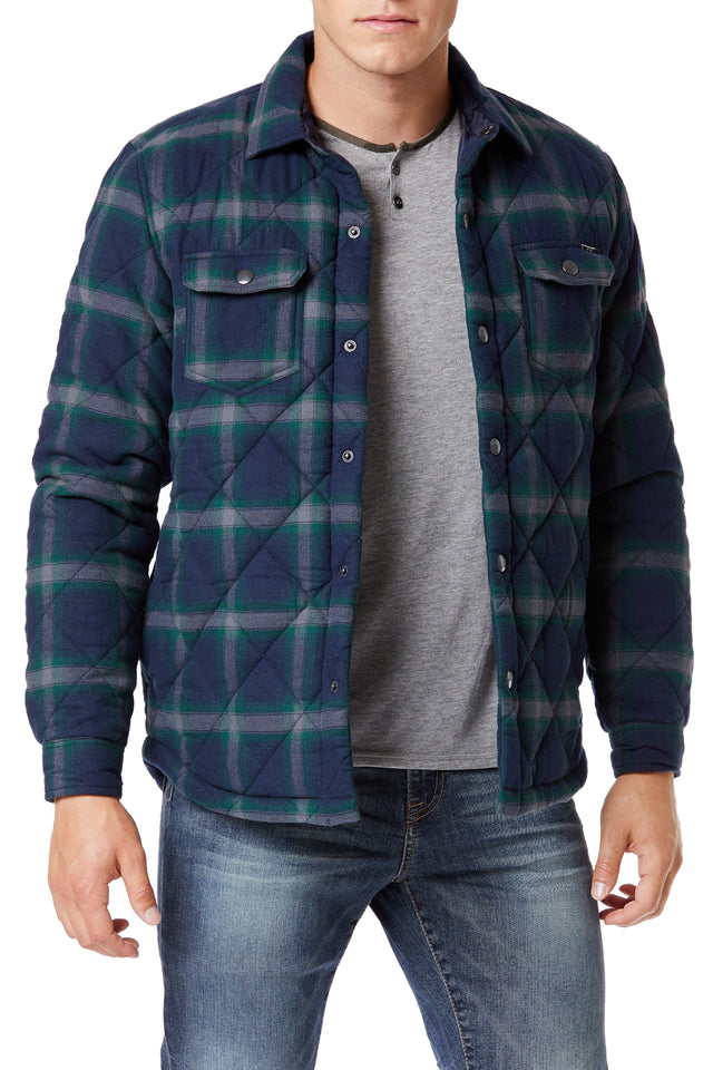 Blue Outerwear Plaid Shirt Jackets for Men - Front View