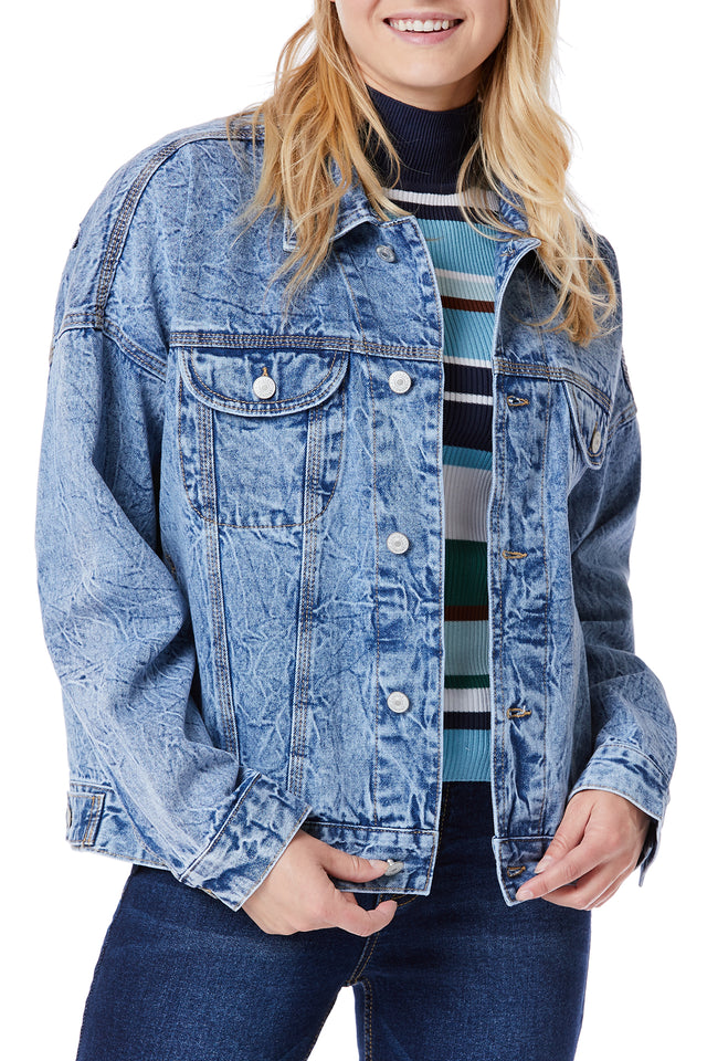 Acid Wash Denim Jackets for Women - Front View
