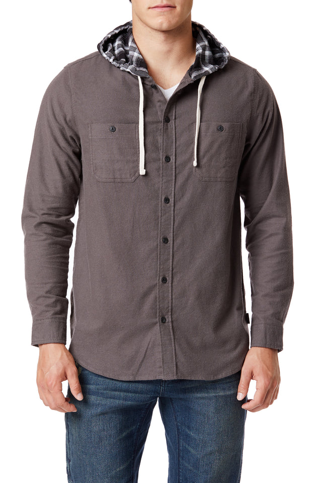 Brown Button-Up Flannel Hoodies for Men - Front View