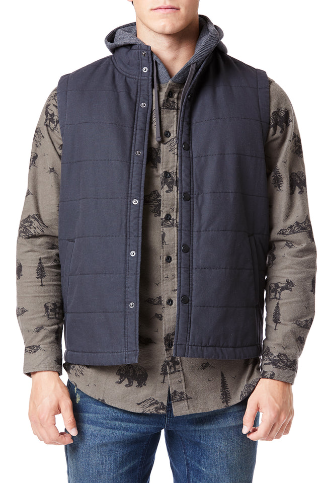 Black Canvas Quilted Outerwear Vest for Men - Front