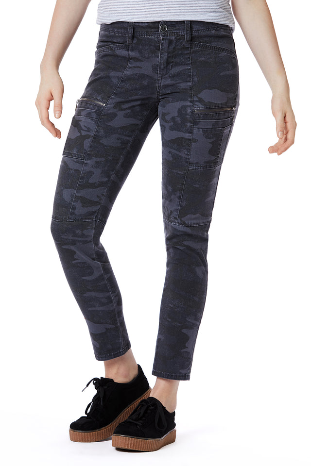 Grey Skinny Zip Camo Cargo Pants for Women - Front View
