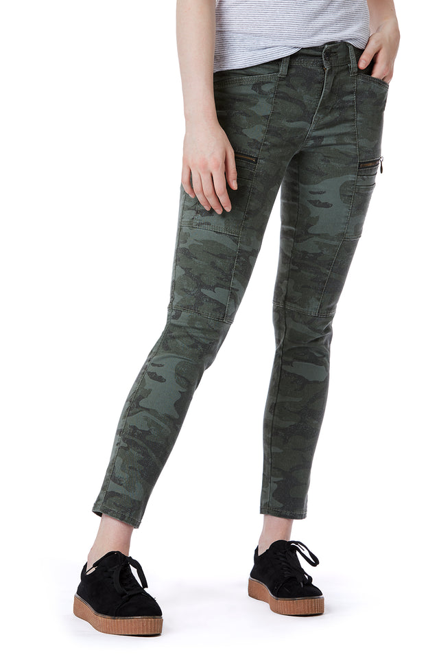 Green Skinny Zip Camo Cargo Pants for Women - Front View