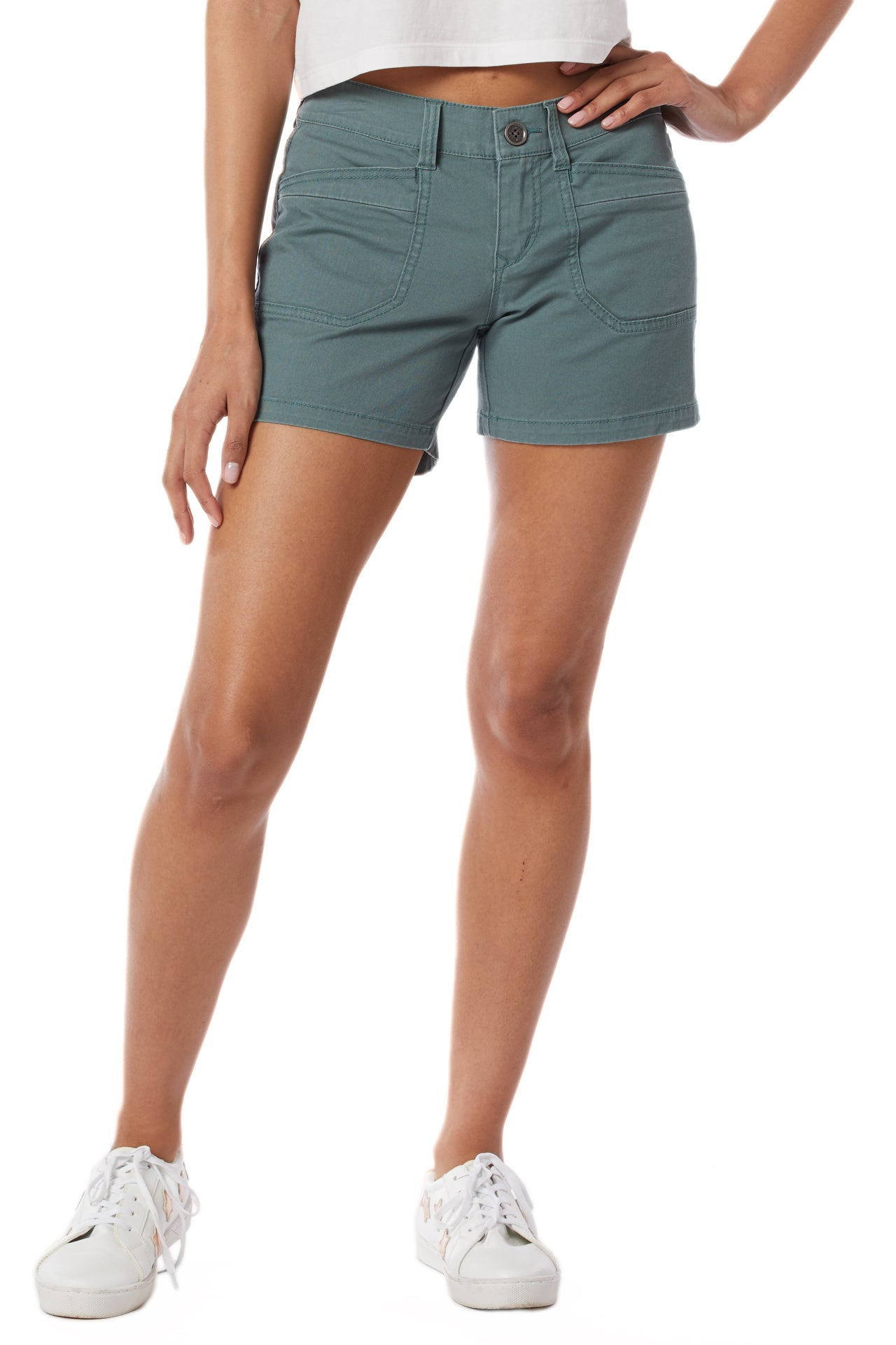 darcy twill short smoky spruce front