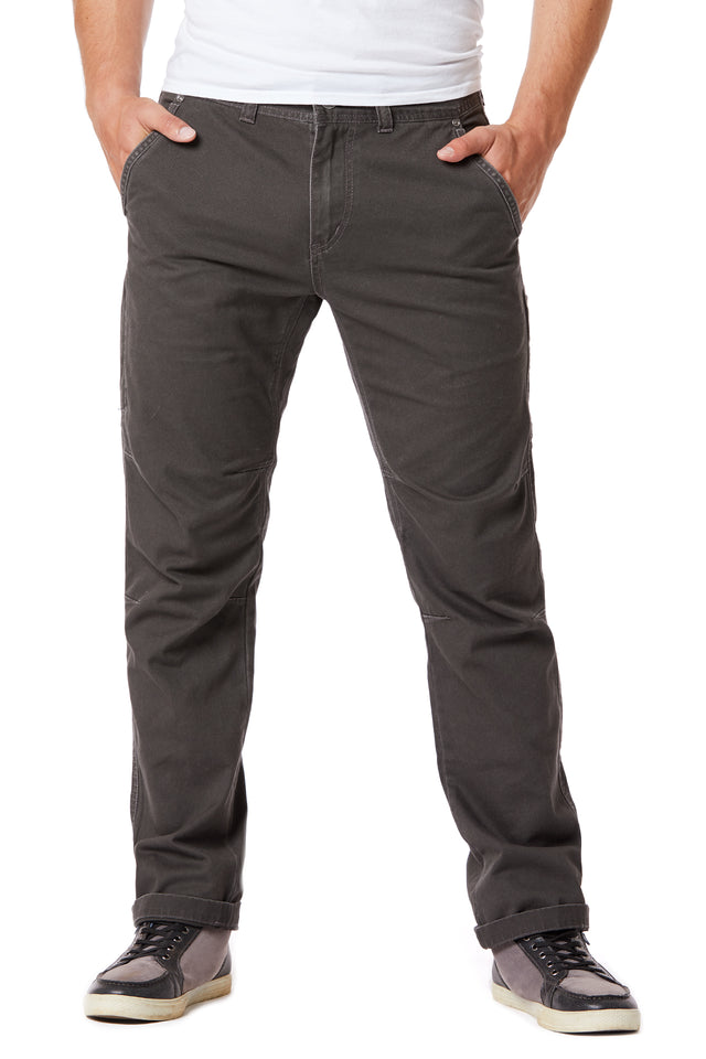 Dark Brown Slim Twill Utility Pants for Men - Front View