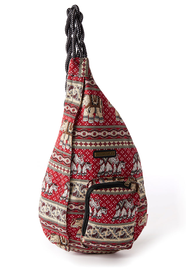Elephant Print Sling Bag for Girls - Front View