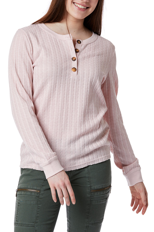 Pink Cable Knit Henley for Women - Front View