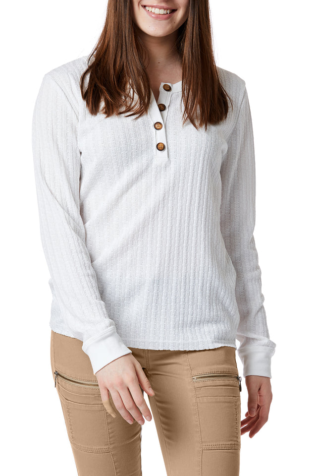 White Cable Knit Henley for Women - Front View