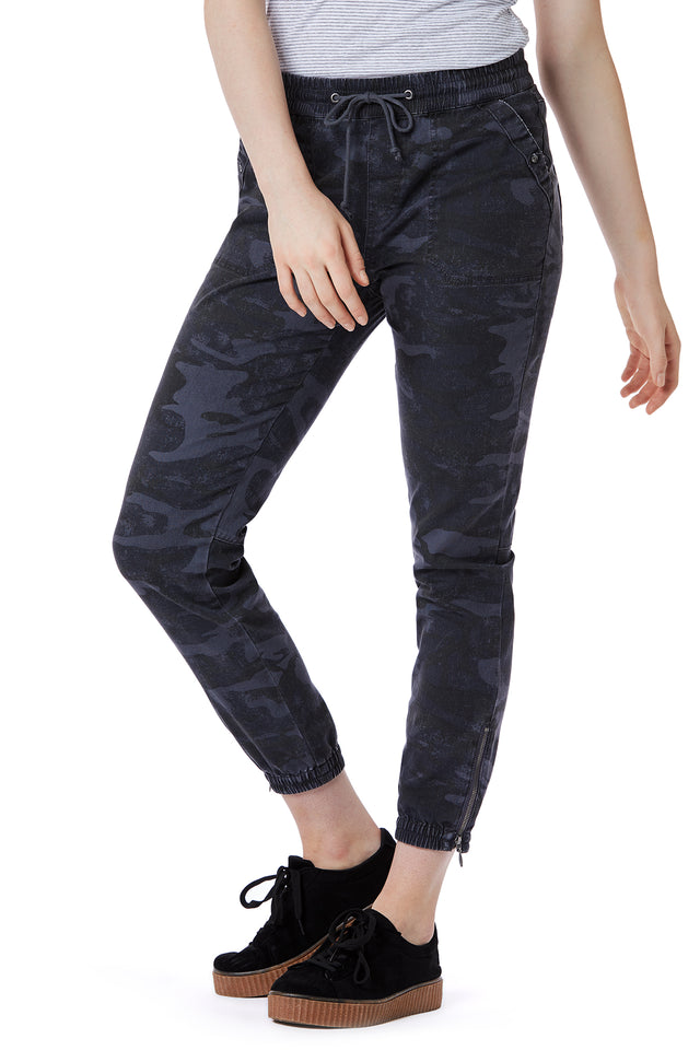Grey Camo Print Joggers for Women - Front View
