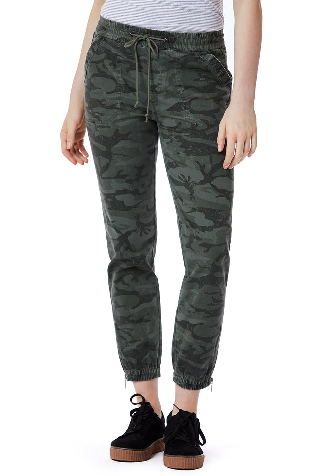 Green Camo Print Joggers for Women - Front View