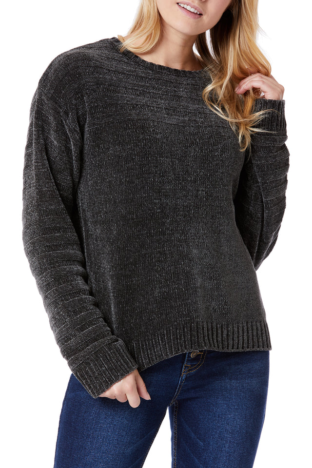 Grey Soft Chenille Sweaters for Women - Front View
