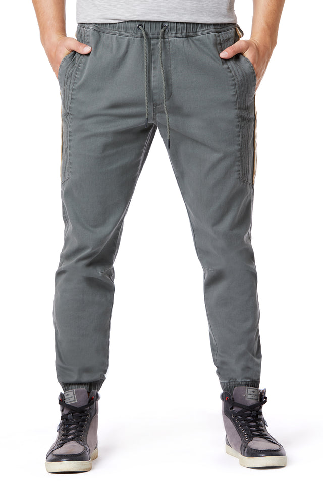 Grey Side Stripe Elastic Waist Joggers for Men - Front View