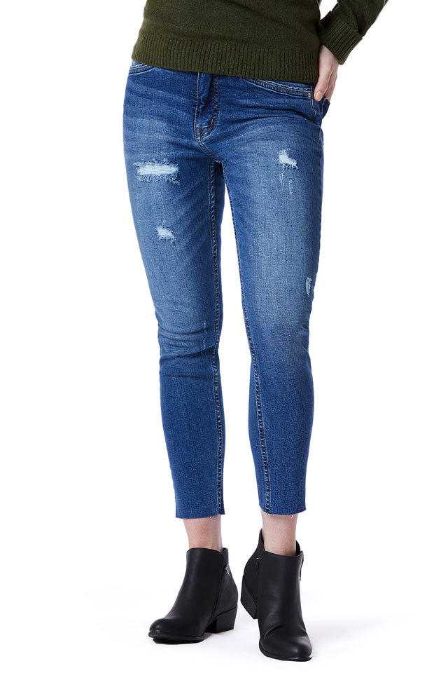 Raw Hem Blue Skinny Jeans for Women - Front View