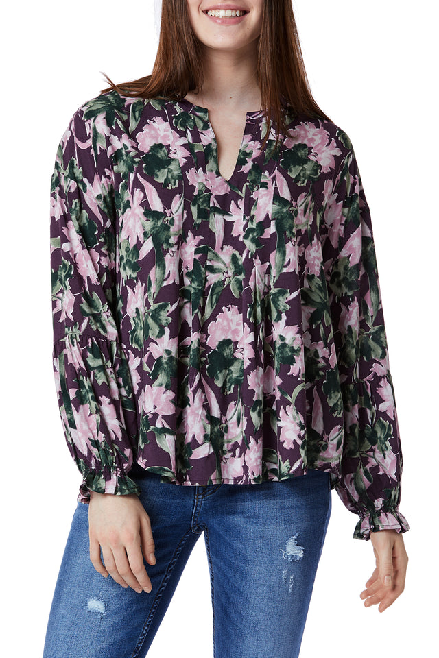 Floral Long Sleeve Tops for Women - Front View