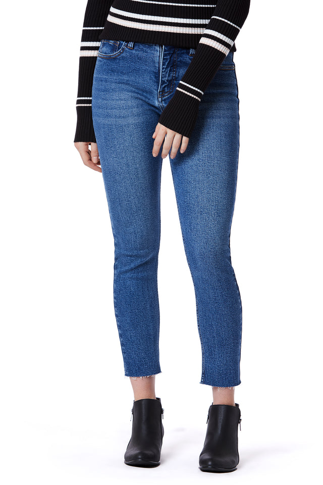 Raw Hem Skinny Jeans for Women - Cortez Blue - Front View