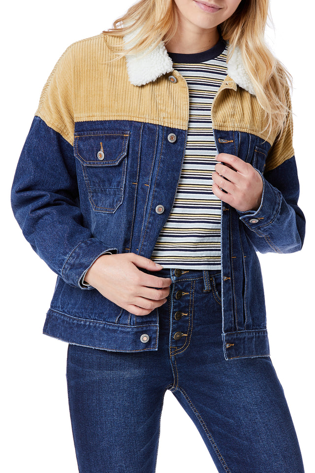 Retro Corduroy Denim Jackets for Women - Front View