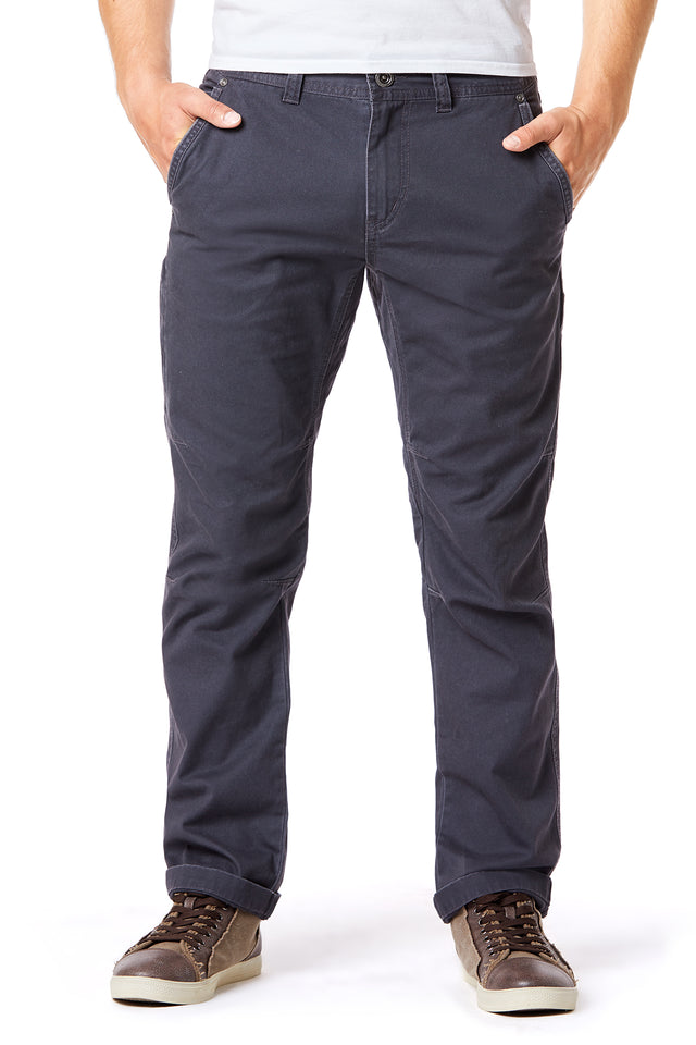 Blue Slim Twill Utility Pants for Men - Front View