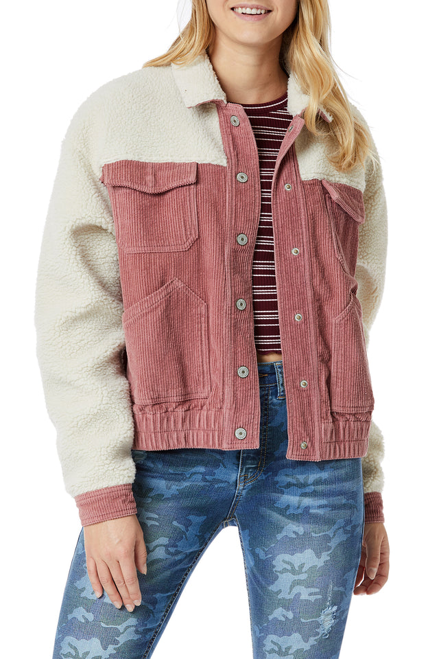 Pink Corduroy Sherpa Jackets for Women - Front View