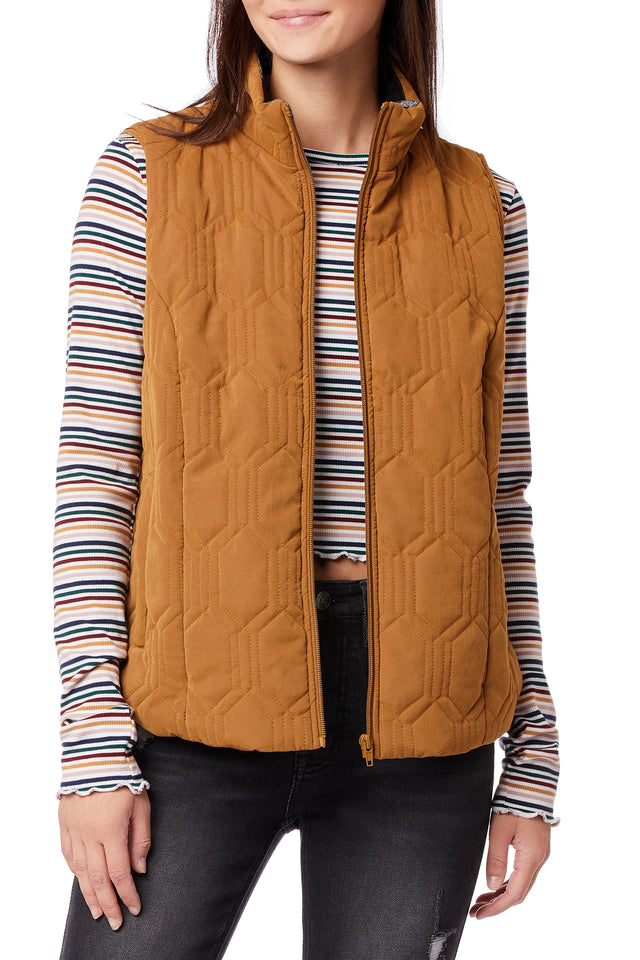 Mikko Zip Up Quilted Vests for Women - Bronze - Front