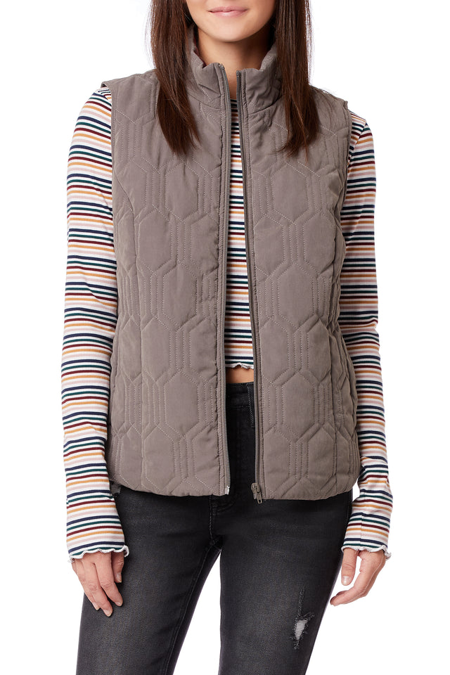 Mikko Quilted Zip Up Vests for Women - Grey - Front